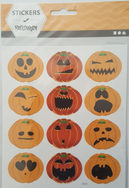 1 Sheet Pumpkin Face Halloween Stickers